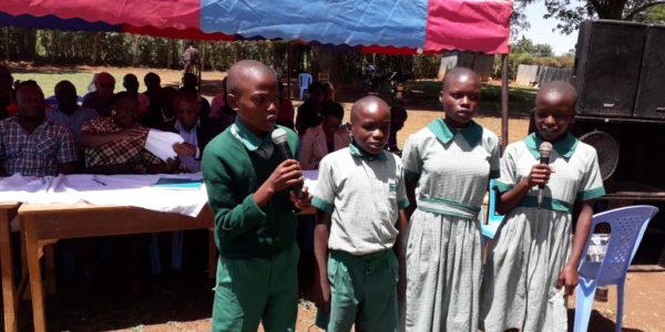 Project children reciting a poem during the world orphans day